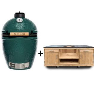Big-Green-Egg-large-met-eiken tafel natuursteen keukenmodel