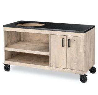 Steigerhout tafel met opbergkast en natuursteen blad TS600 (1)